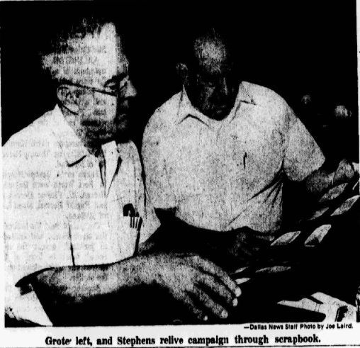 A photograph of D-Day veterans Alex Grote and Robert Stephens reminiscing on their times in combat, published on July 19, 1970.