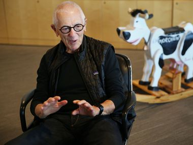 Stan Richards, the founder of the advertising agency The Richards Group, talks with The Dallas Morning News in company's Dallas offices Friday July 22, 2016. Chick-fil-A had a 22-year relationship with The Richards Group. The rocking cow was given to Richards by Truett Cathy, the founder of Chick-fil-A. (Andy Jacobsohn/The Dallas Morning News)