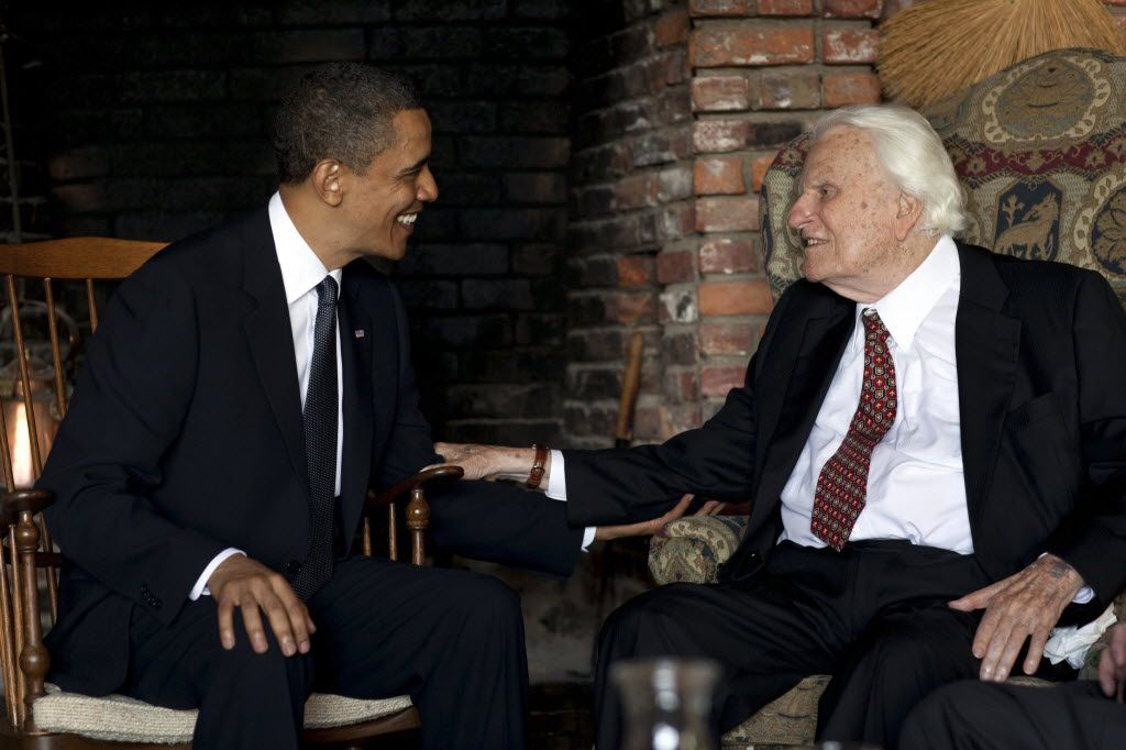 President Barack Obama meets with Billy Graham, 91, at his mountainside home in Montreat, N.C., on Sunday, April 25, 2010.