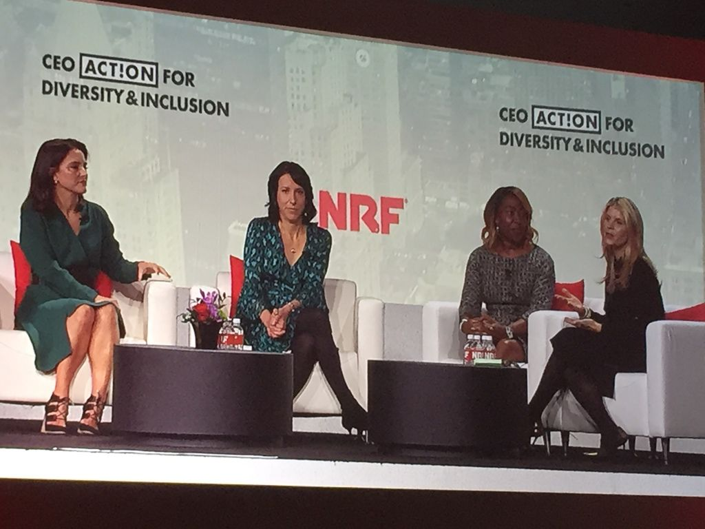Panel discussion on women in the workplace at the National Retail Federation annual show in New York on Jan. 12-14, 2020. Left to right: Mercedes Abramo, president and CEO of Cartier North America; Tammy Sheffer, chief people officer, Rent the Runway; Shawn Outler, chief diversity officer at Macy's; and Shannon Schuyler, principal, chief purpose and inclusion officer at PriceWaterhouseCoopers.