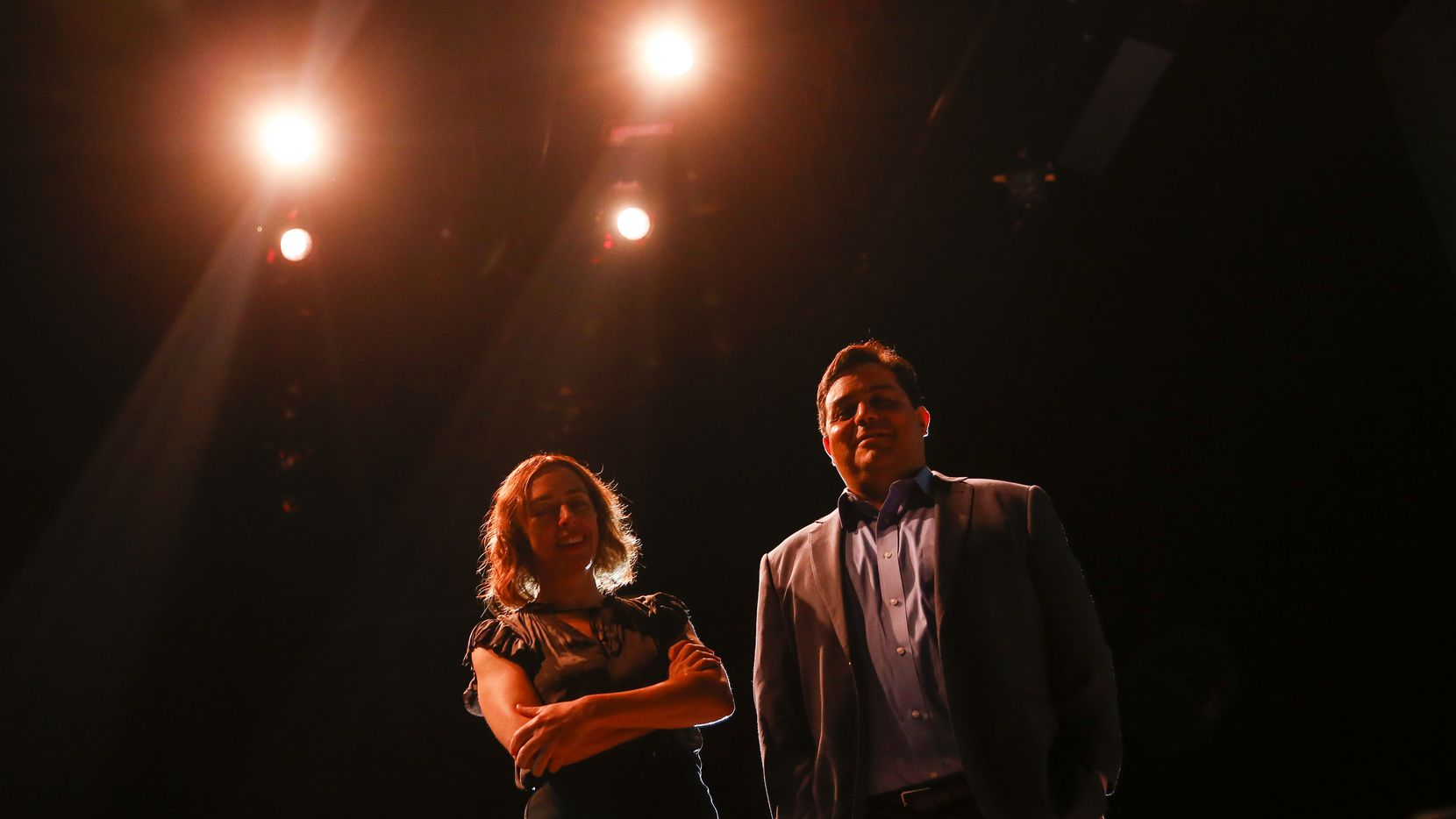 Sara Cardona, the executive director of Teatro Dallas, left, and David Lozano, the executive artistic director of Cara Mia Theatre.