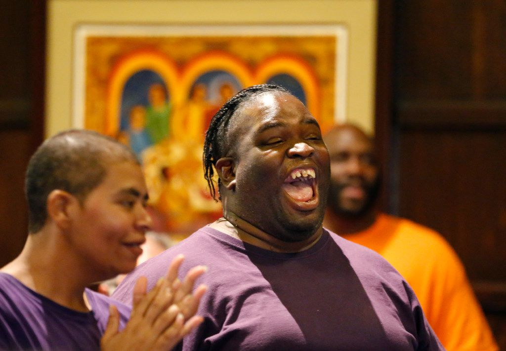 Dallas Street Choir member Toria Ellis raises his voice during a rehearsal for their performance at Carnegie Hall on Wednesday evening, at the Fifth Avenue Presbyterian Church in New York.