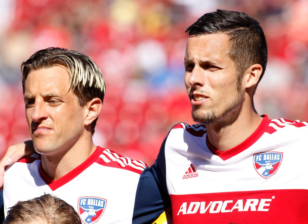 FC Dallas defenders Reto Ziegler (3), left, and Matt Hedges (24) pose as part a group photo prior to the start of their home game against LA Galaxy. The two are set to share captain duties for the team this season. The two Major League Soccer teams played their game at Toyota Stadium in Frisco on March 9, 2019. (Steve Hamm/ Special Contributor) (NOTE: SPORTS requested this image to possibly accompany a future feature on the co-captains)
