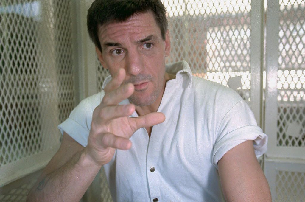 In this Nov. 19, 1999 file photo, mentally ill Texas death row inmate Scott Panetti talks during a prison interview.