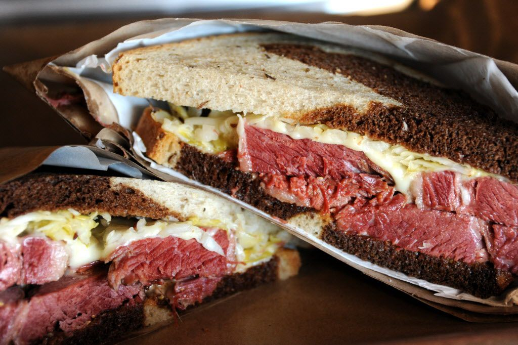 The Ruben features Beeman Ranch corned beef, house-made sauerkraut, Million Island dressing and Swiss cheese on marble rye bread at Goodfriend Package in Dallas, TX on January 13, 2016.