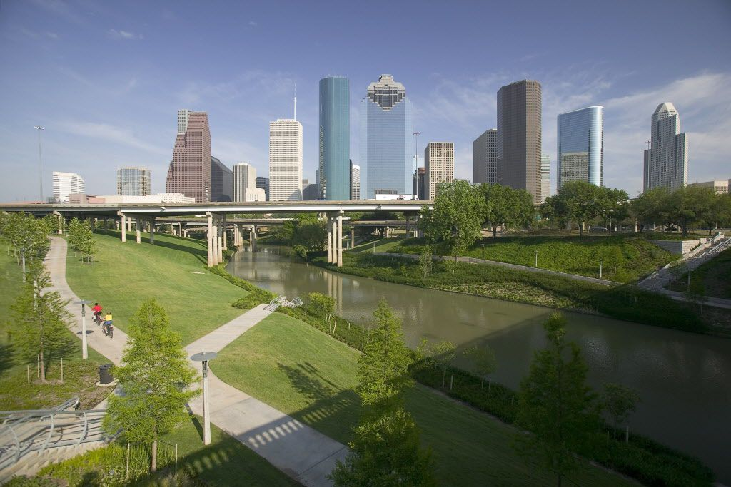 For last-minute airfare deals, think Houston. It might be worth it to drive and fly from there. Shown: Downtown Houston skyline and Buffalo Bayou, which stretches 52 miles through Houston, from the mouth of the Houston Ship Channel to the forests of Memorial Park. PARSONSPIC 08172014xTRAVEL