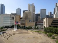 A view of downtown Dallas, before a news conference at City Hall, Wednesday, April 22, 2020. An otherwise heavily trafficked area, the city sits mostly quiet amid the new coronavirus crisis.
