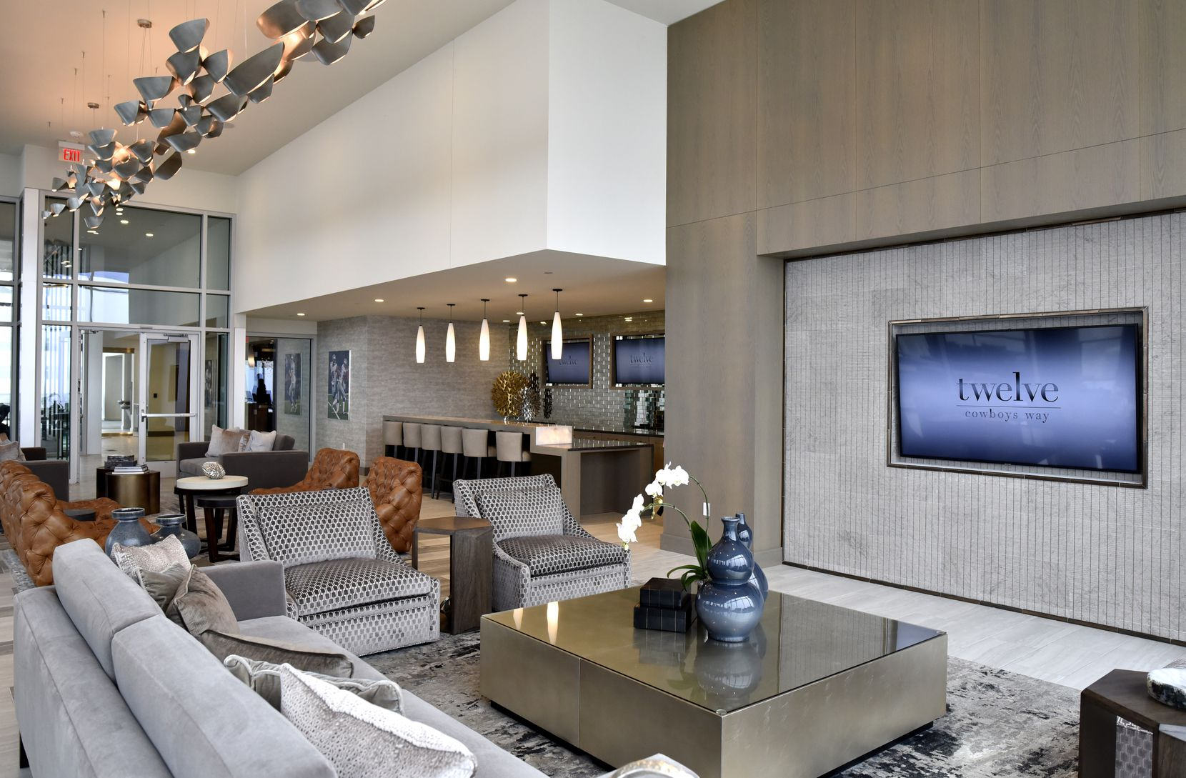 A lounge area available for private parties on the sixth floor of the Twelve Cowboys Way luxury residential tower at the Star in Frisco.