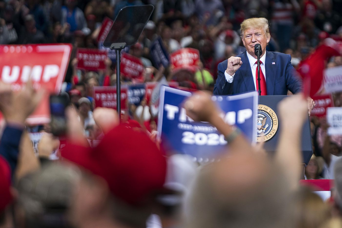 President Donald Trump speaks during a campaign rally at the American Airlines Center on Thursday, Oct. 17, 2019, in Dallas.