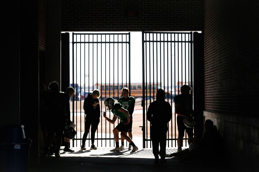Southlake Carroll players get ready prior to a Class 6A Division I Region I high school football matchup between Southlake Carroll and Duncanville on Saturday, Dec. 7, 2019 at McKinney ISD Stadium in McKinney, Texas. (Ryan Michalesko/The Dallas Morning News)