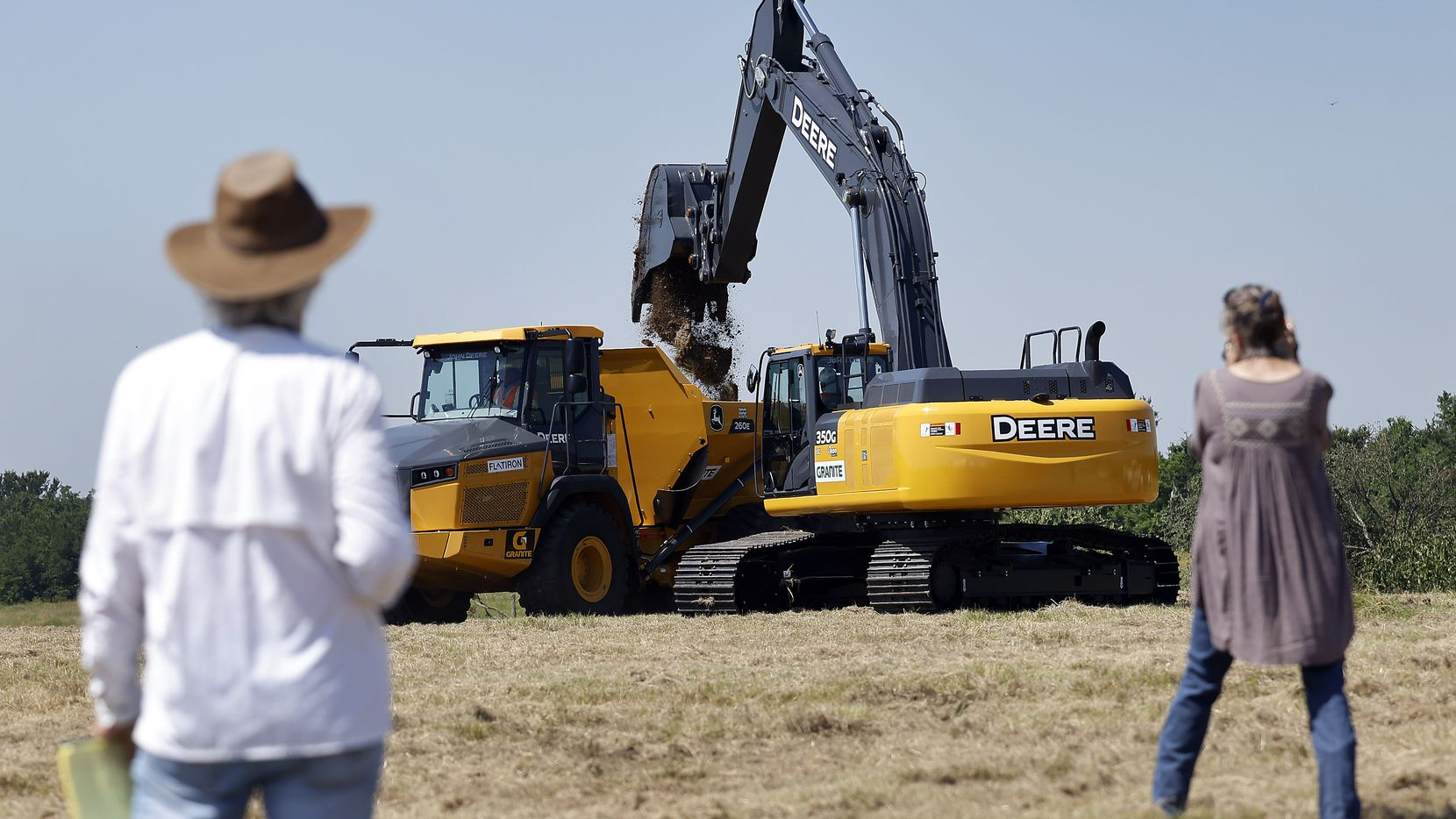 The first scoop of dirt was dumped in a truck following the Upper Trinity Regional Water District groundbreaking ceremony for Lake Ralph Hall and Leon Hurse Dam near Ladonia, Texas, Wednesday, June 16, 2021. The lake will provide 54 million gallons of water per day for some 29 communities in Denton and Collin counties. The $490 million project should begin delivering water by 2025. The lake is named after Hall who was a United States Representative for Texas's 4th congressional district.