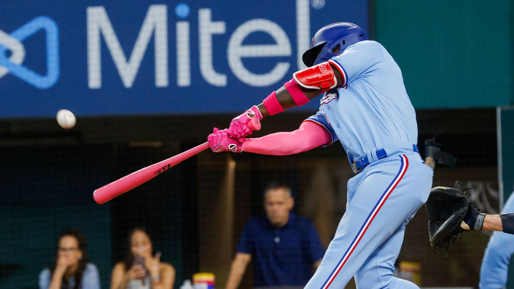Texas Rangers right fielder Adolis Garcia (53) hits a homer to left center against the Seattle Mariners at bottom of the fifth at Globe Life Field on Sunday, May 9, 2021, in Arlington.