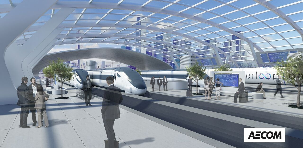 A rendering of the proposed Hyperloop station in Dallas. (AECOM)