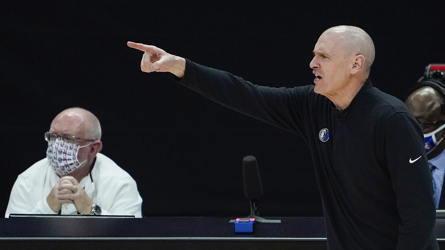 Dallas Mavericks head coach Rick Carlisle directs his team during the third quarter of an NBA playoff basketball game against the LA Clippers at the Staples Center on Wednesday, June 2, 2021, in Los Angeles.