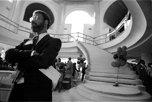 """Dr. Harry Robinson Jr. was on hand for a """"hard hat"""" party in the rotunda of the then-unfinished new African American Museum building at Fair Park in 1993."""