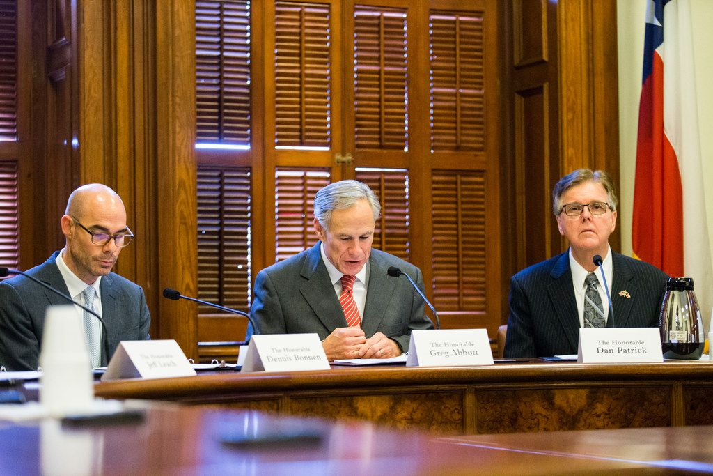 The State Preservation Board, including Speaker of the House Dennis Bonnen, Governor Greg Abbott and Lt. Governor Dan Patrick, votes to remove a Children of the Confederacy plaque that is displayed in the Texas state capital on the fourth day of the 86th Texas legislature on Friday, January 11, 2019 at the Texas state capital in Austin, Texas.