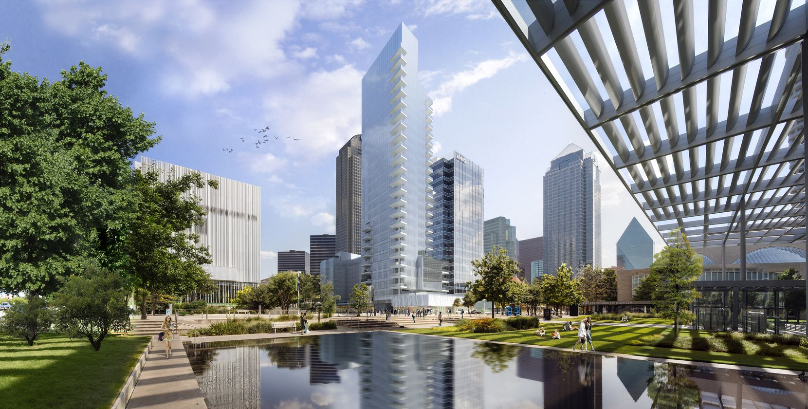 The 28-story high-rise is in downtown Dallas' Arts District.