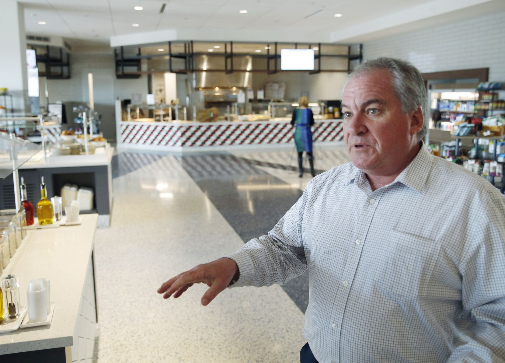 Glenn Cooper of Charles Schwab gives a tour of the new Charles Schwab headquarters in Westlake.