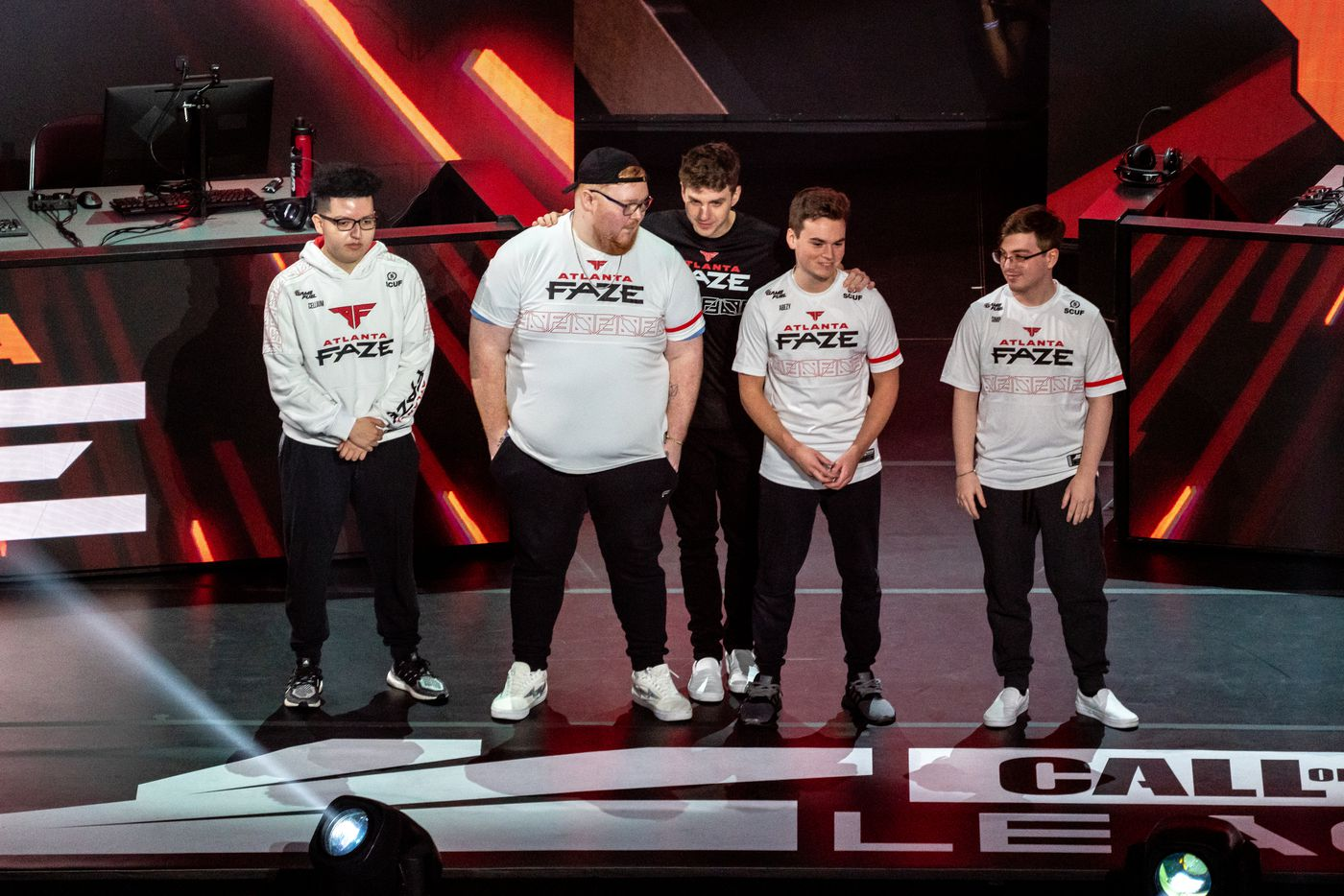 The Atlanta FaZe is introduced at the start of the winners final of the Call of Duty league playoffs at the Galen Center on Saturday, August 21, 2021 in Los Angeles, California. The Empire lost to FaZe 0 - 3 in their first match of the day but are still in contention to play in the finals through the elimination finals. (Justin L. Stewart/Special Contributor)