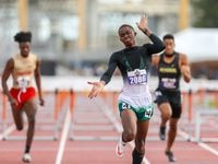 Mesquite Poteet's Kendrick Smallwood claps as he finishes first in the 5A Boys 110 meter hurdles during the UIL state track meet at the Mike A. Myers Stadium, at the University of Texas on May 7, 2021 in Austin, Texas.