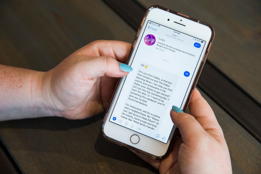 """If you're on a smartphone, you can check out Lucy's Facebook page -- search for """"Lucy from Dallas"""" -- or head straight to the Facebook Messenger app to start a conversation."""
