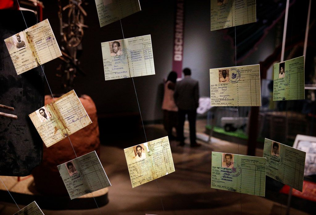 Photographs of genocide victims are displayed in the Human Rights Wing during a media preview Monday, Sept. 16, 2019, at the new Dallas Holocaust and Human Rights Museum in downtown Dallas.
