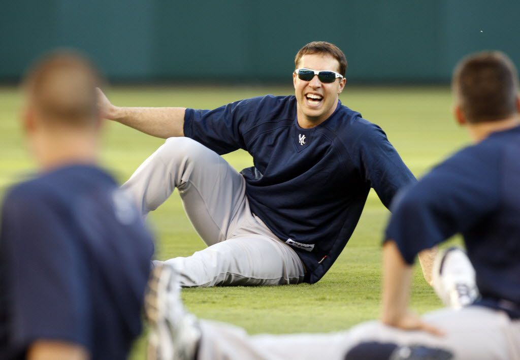 New York Yankees infielder Mark Teixeira laughs while stretching during  pratice for their ALCS series against the Texas Rangers at Rangers Ballpark  in Arlington, Tx on October 14, 2010. (Michael Ainsworth/The Dallas Morning News) 10152010xNEWS