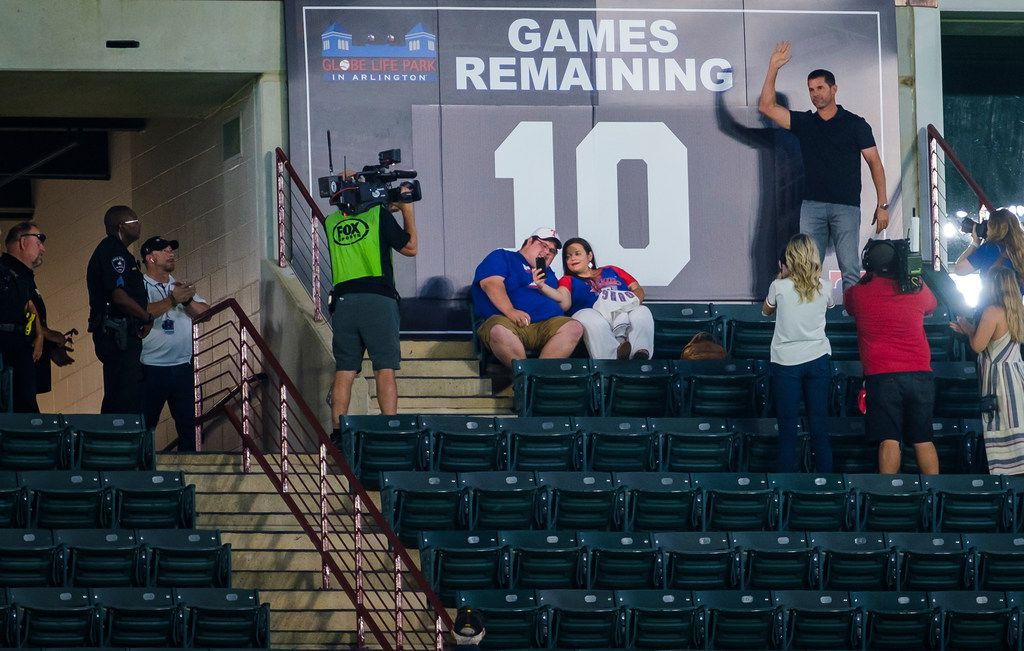 Michael Young unveils the the countdown showing 10 games remaining Globe Life Park during a game between the Texas Rangers and the Tampa Bay Rays on Wednesday, Sept. 11, 2019, in Arlington. (Smiley N. Pool/The Dallas Morning News)