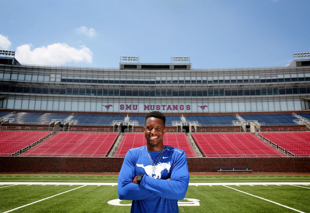 SMU wide receiver Courtland Sutton poses for a photograph at Gerald J. Ford Stadium at SMU in Dallas on Thursday, Aug. 10, 2017. (Rose Baca/The Dallas Morning News)