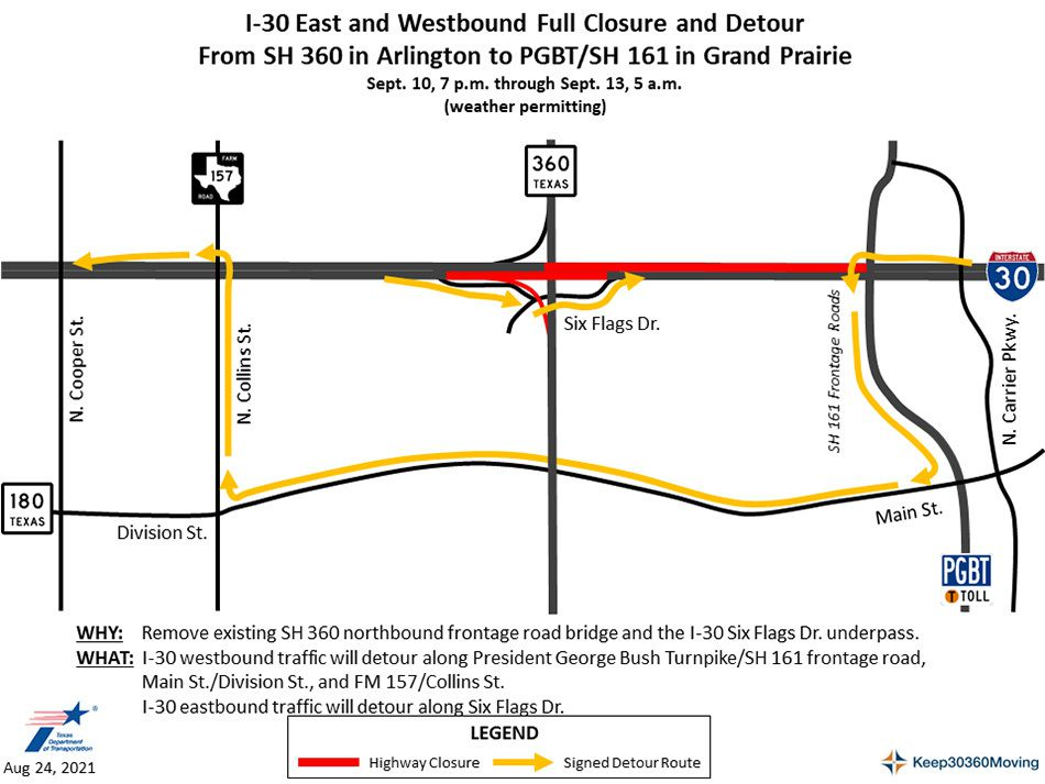 A map from the Texas Department of Transportation shows the detour routes for motorists affected by this weekend's closures to Interstate 30.