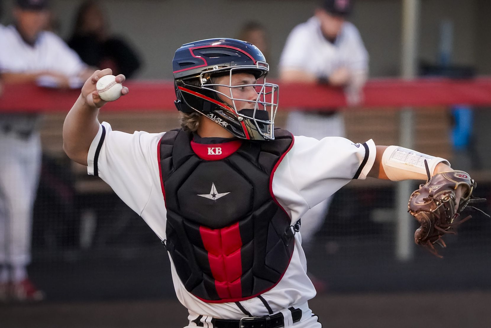 Rockwall-Heath catcher Kevin Bazzell makes a throw to second base during a district 10-6A high school baseball game against North Mesquite on Thursday, April 1, 2021, in Rockwall. (Smiley N. Pool/The Dallas Morning News)