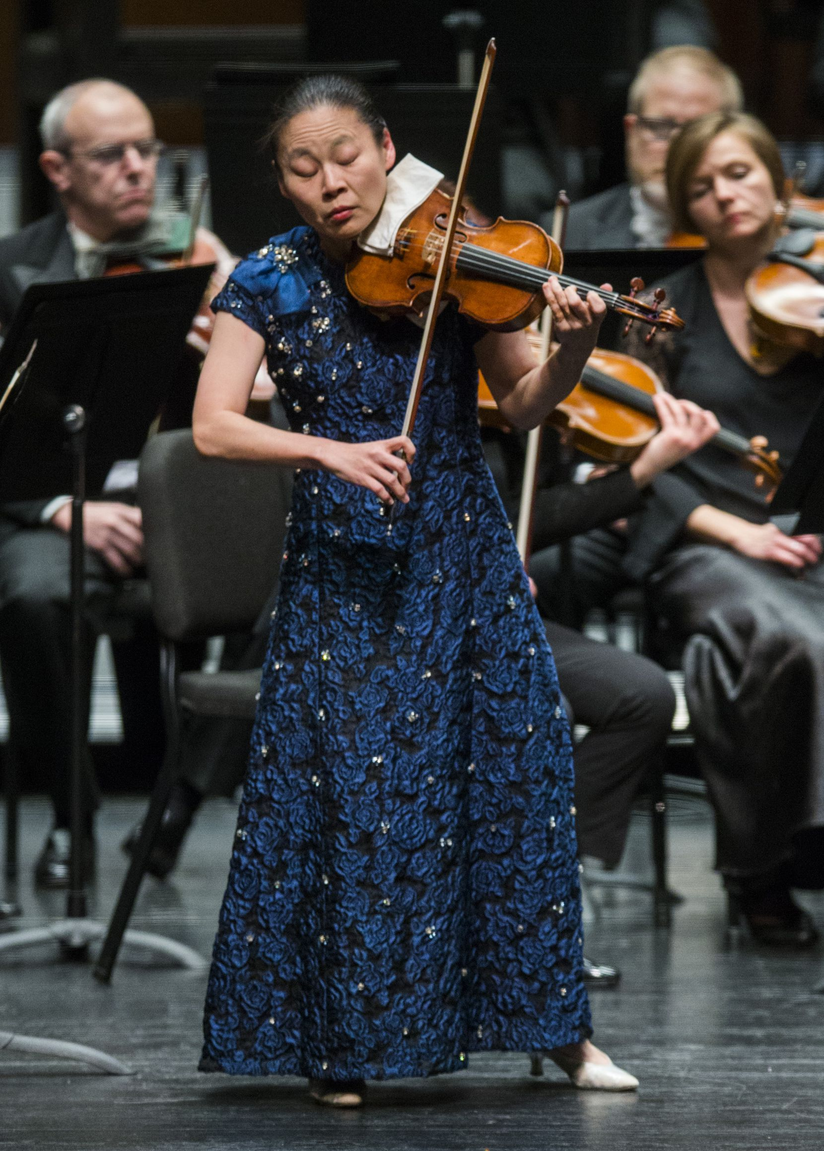 Violin soloist Midori performs with the Fort Worth Symphony Orchestra during the Gala concert, conducted by music director Miguel Harth-Bedoya on Saturday, February 8, 2020, at Bass Performance Hall in Fort Worth.