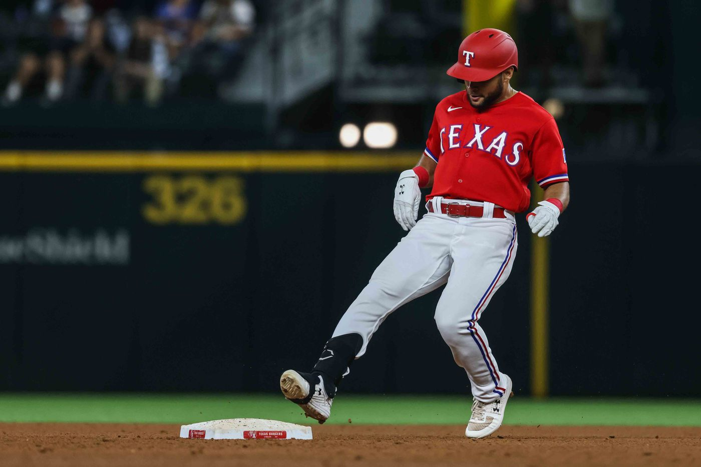 Texas Rangers Jason Martin (50) reaches second base after makes a hit against Seattle Mariners during  fourth inning at Globe Life Field in Arlington, Texas, Friday, July 30, 2021. (Lola Gomez/The Dallas Morning News)