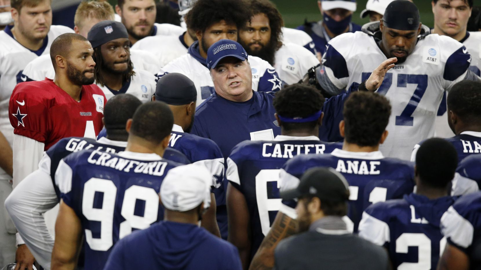 Dallas Cowboys head coach Mike McCarthy talks to the team after practice during training camp inside the Ford Center at the Dallas Cowboys headquarters at The Star in Frisco, Texas on Tuesday, August 18, 2020.