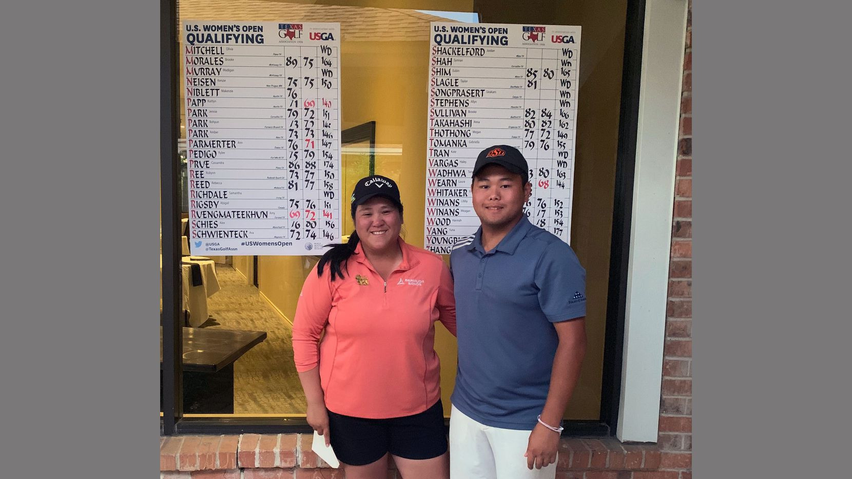 Ursuline golf coach Amy Ruengmateekhun (left) with her younger brother, Jamie, who served as her caddie when she qualified for the U.S. Women's Open on May 2.