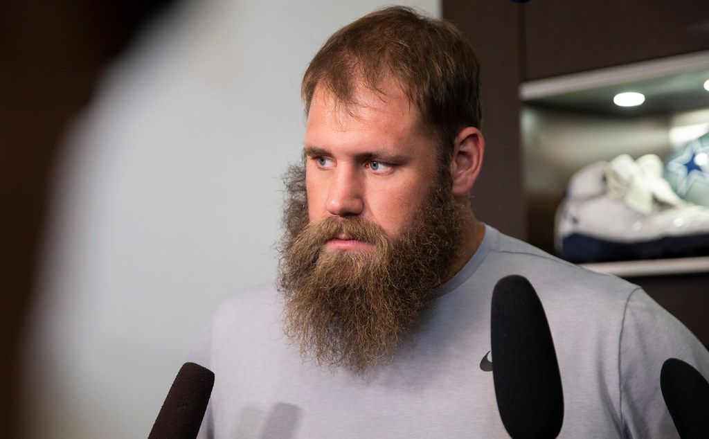 Dallas Cowboys center Travis Frederick (#72) talks to reporters after a team meeting at The Star on Dec. 30, 2019 in Frisco. The Cowboys season ended after failing to make it to playoffs. (Juan Figueroa/ The Dallas Morning News)