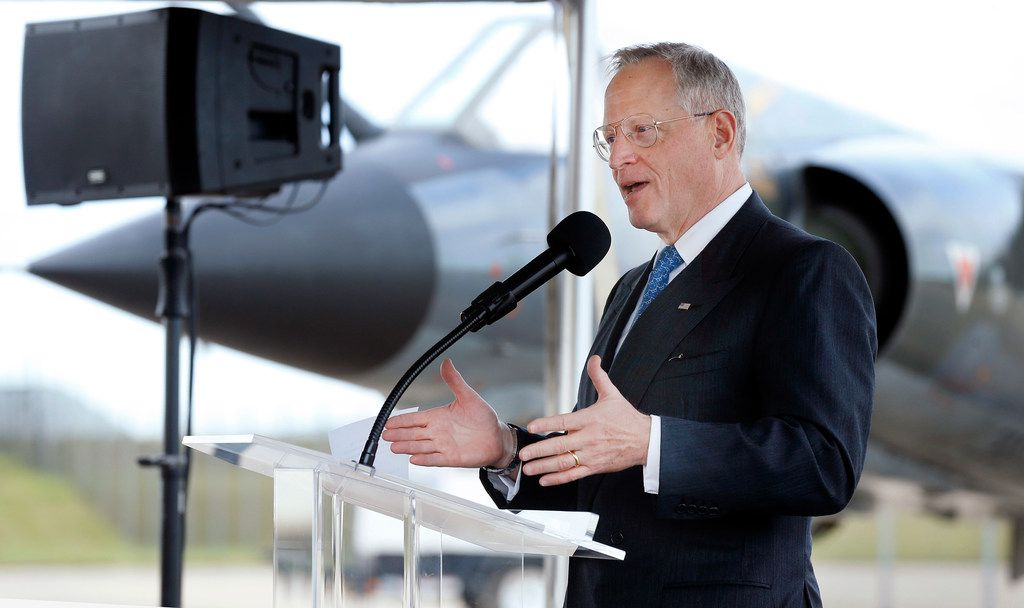 Hillwood Development chairman Ross Perot, Jr.  spoke before breaking ground on the Adversarial Center of Excellence at Alliance Airport in Fort Worth, Thursday, October 11, 2018. Airborne Tactical Advantage Company (ATAC), part of Textron Airborne Solutions, plans on purchasing more than 60 Dassault Aviation Mirage F1 fighter planes (in background) which have actively flown since the early 1970's. (Tom Fox/The Dallas Morning News)