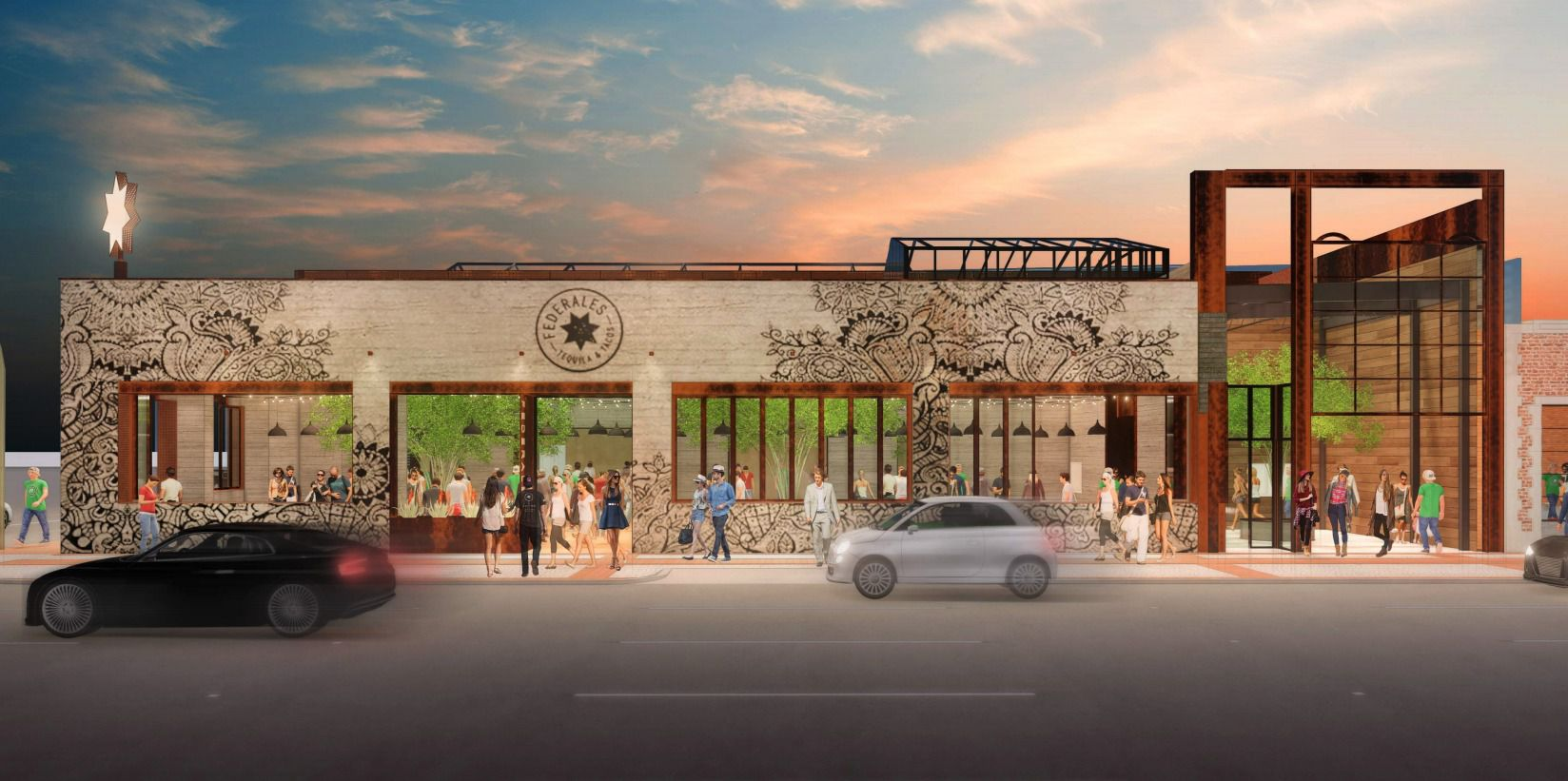 Federales, shown here in a rendering, is a 12,000 square-foot restaurant and bar from a restaurant group in Chicago. It's expected to open in Deep Ellum in 2021.