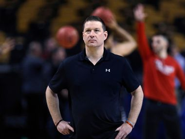 Texas Tech head coach Chris Beard watches his players during practice at the NCAA men's college basketball tournament in Boston, Thursday, March 22, 2018. Texas Tech faces Purdue in a regional semifinal on Friday night. (AP Photo/Charles Krupa)