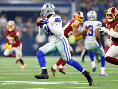 FILE - Cowboys fullback Jamize Olawale (49) makes a catch and turns upfield during a game against Washington at AT&T Stadium in Arlington on Thursday, Nov. 22, 2018.