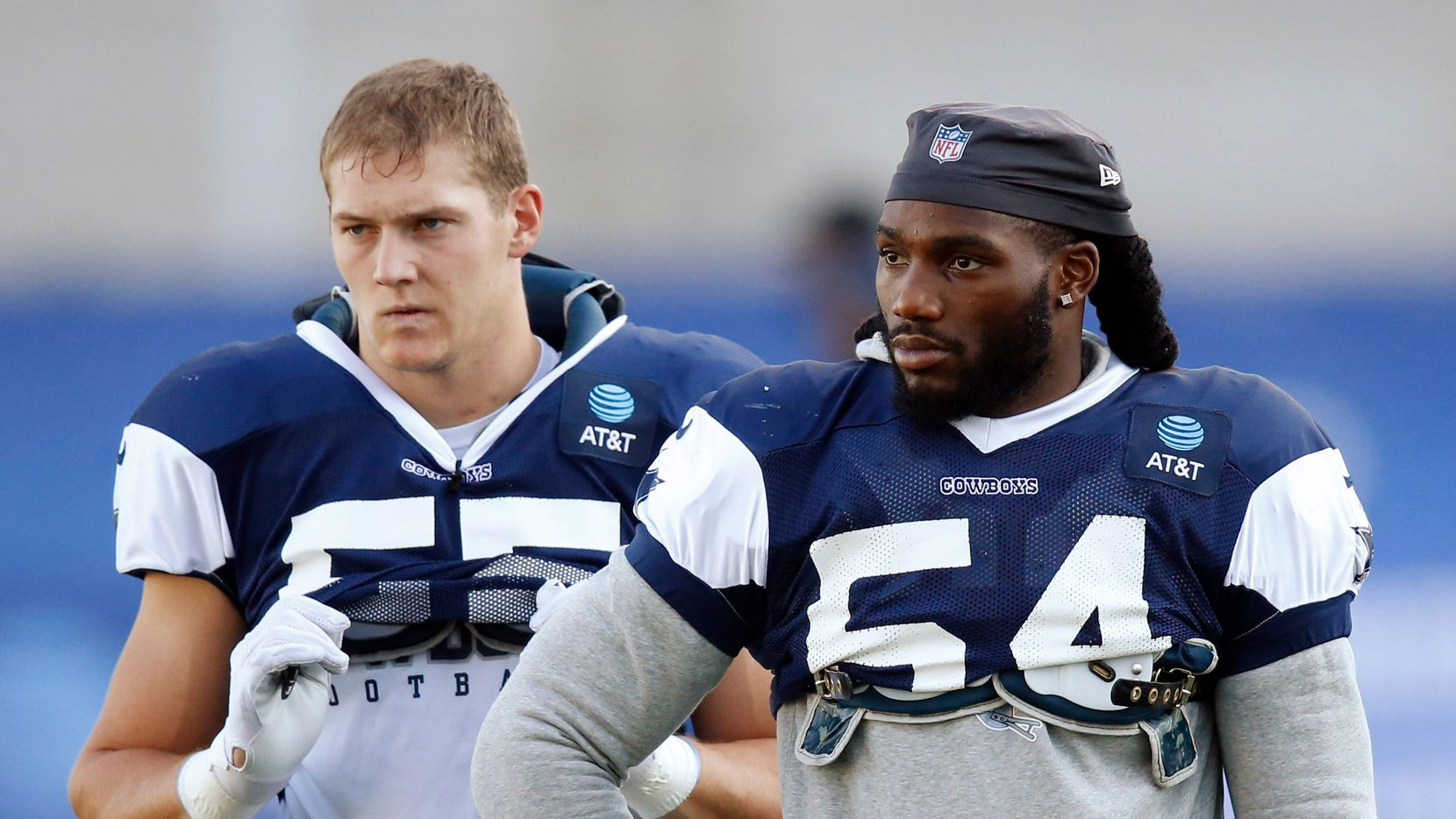 Dallas Cowboys linebacker Jaylon Smith (54) and Dallas Cowboys linebacker Leighton Vander Esch (55) during training camp at the Dallas Cowboys headquarters at The Star in Frisco, Texas on Thursday, August 20, 2020.