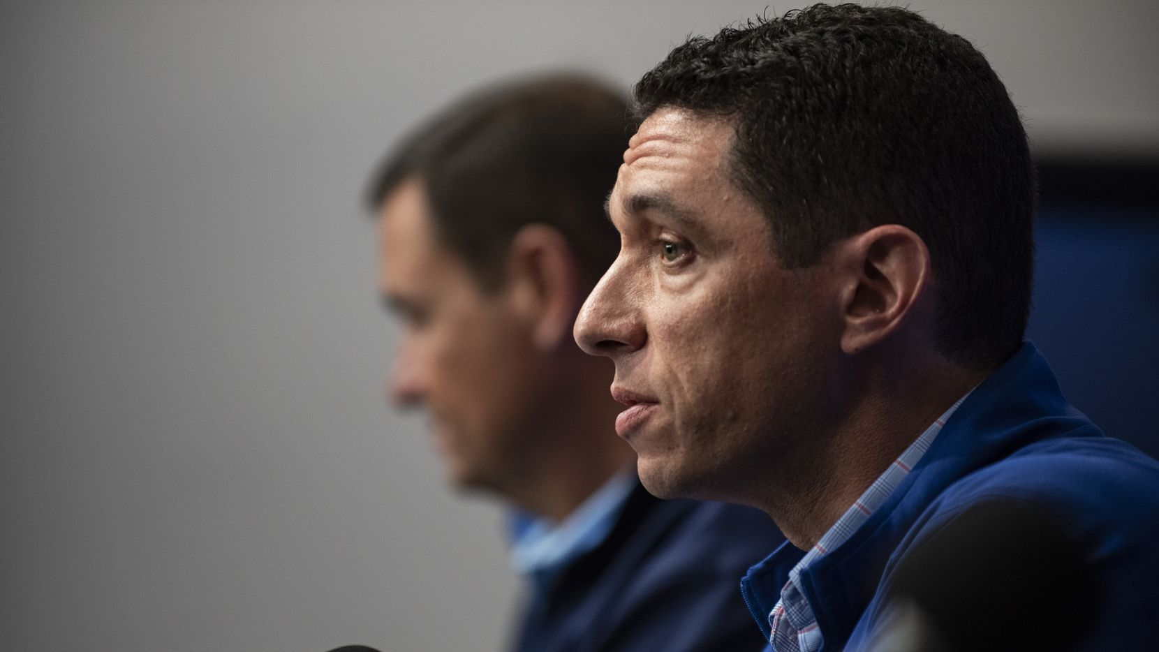 Texas Rangers President of Baseball Operations Jon Daniels answers questions during the end of the year press conference at Globe Life Field on Wednesday, October 6, 2021 in Arlington, Texas.