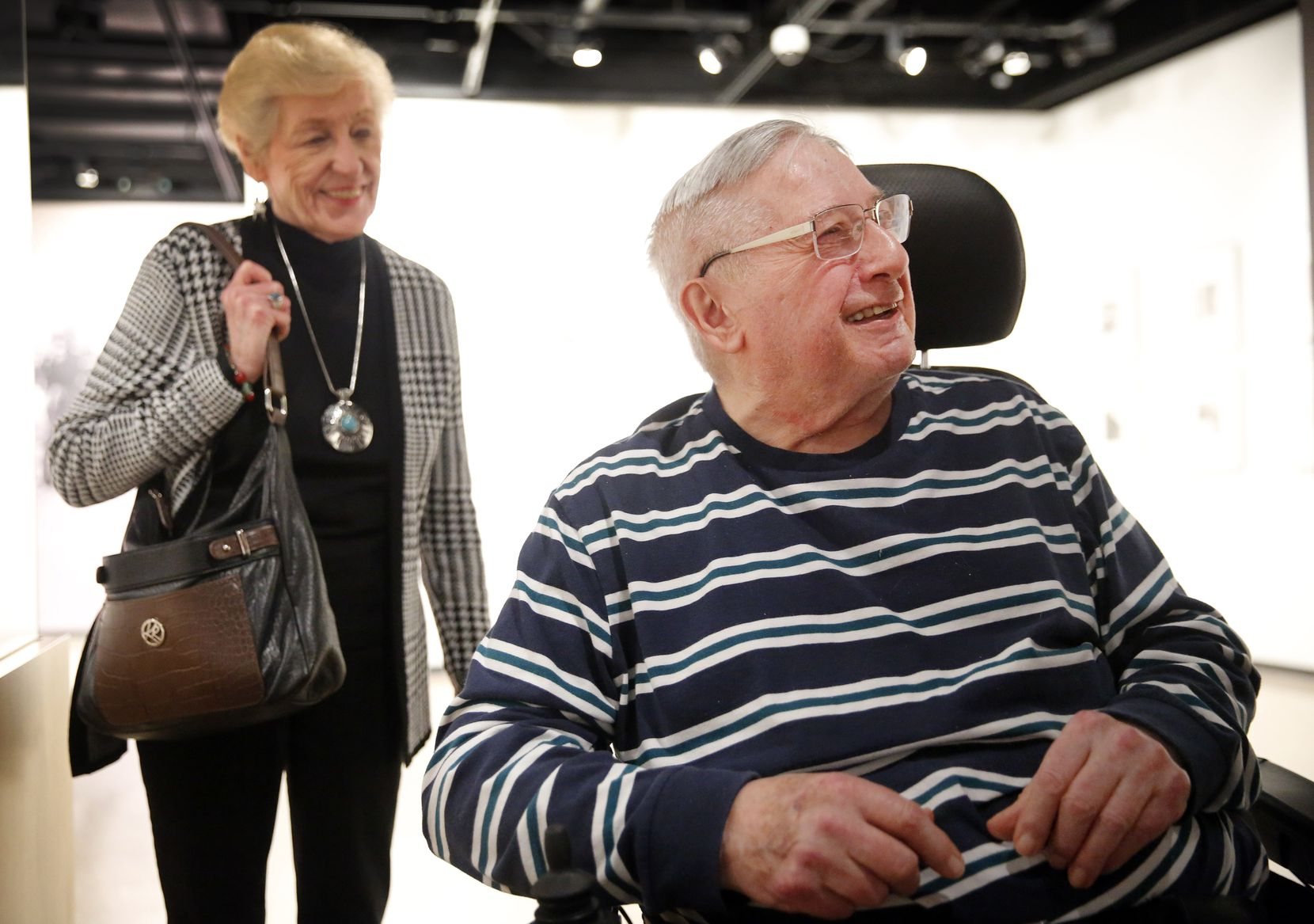 Sid Miller had never before spoken on the record about his work at the Justice Department, until his visit Wednesday to the Dallas Holocaust and Human Rights Museum with old friends, including, at left, Jean Schobert.