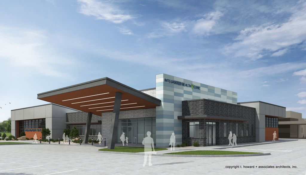A rendering of a possible integrated health clinic to be located at Lancaster and Camp Wisdom Roads in Dallas. The clinic would feature primary, mental and behavioral health services.