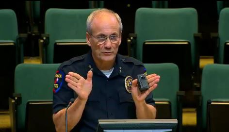 At a City Council meeting, Plano Police Chief Greg Rushin explains the 130-degree view for the body cameras his officers will wear.
