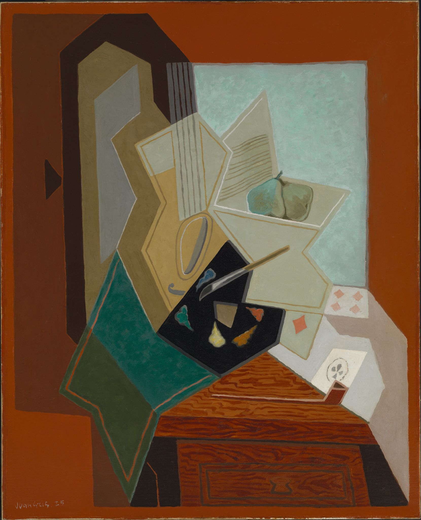 """In later works like the 1925 painting """"The Painter's Window,"""" Juan Gris would often reference himself as an artist by including palettes and paintbrushes."""