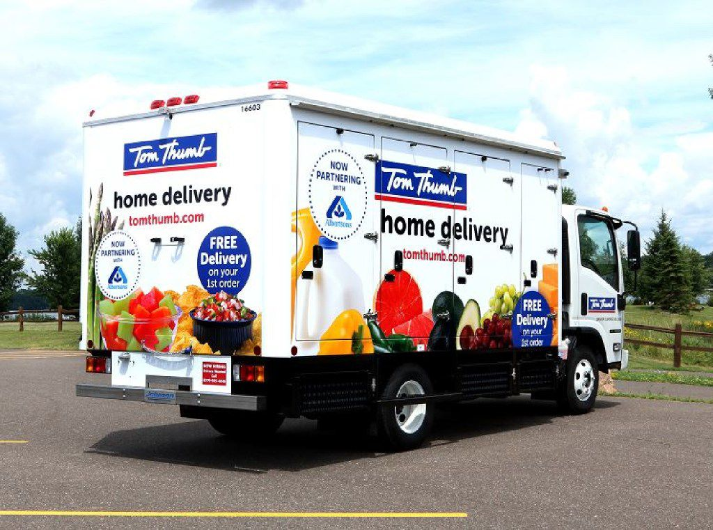 Texas food stamp recipients will be able to order online grocery delivery service, officials said Thursday. Tom Thumb and Albertsons in Dallas-Fort Worth, shown for illustration purposes only, haven't yet become an authorized retailer.