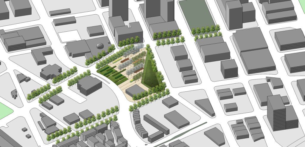 A conceptual rendering showing an aerial view of the location for Harwood Park.  The Belo Foundation announced an ambitious plan Thursday, Oct. 29, 2015 to realize a longstanding vision for downtown by creating 17 acres of new green space through the construction of four major parks. The plan calls for $70 million in private and public funding to build the parks within the next 10 years, with the Belo Foundation pledging $30 million toward the effort. The four parks Ã' Harwood Park, Carpenter Park, Pacific Plaza and West End Plaza Ã' were listed as high priorities in the 2013 update of the downtown parks master plan.