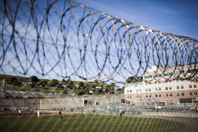 Inmates are permitted time in the main yard at San Quentin State Prison. The museum is closed during lockdowns.