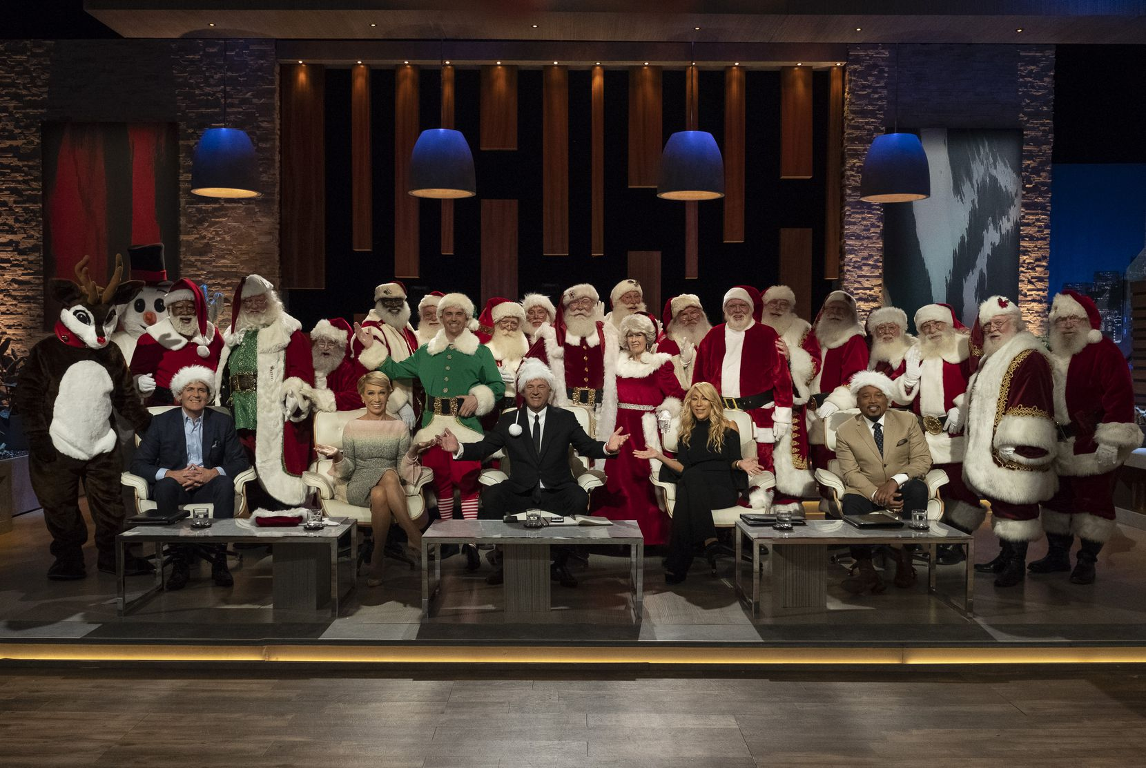 Mitch Allen hired 17 Santas, a Mrs. Claus, a snowman and reindeer for his Shark Tank pitch.